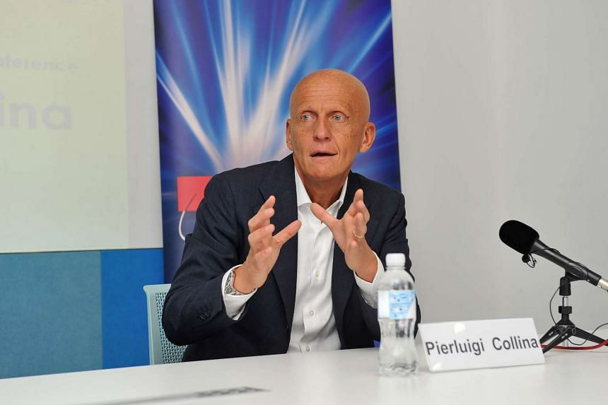 Pierluigi Collina at a talk by the Singapore Institute of Management and Singtel April 4, 2014.