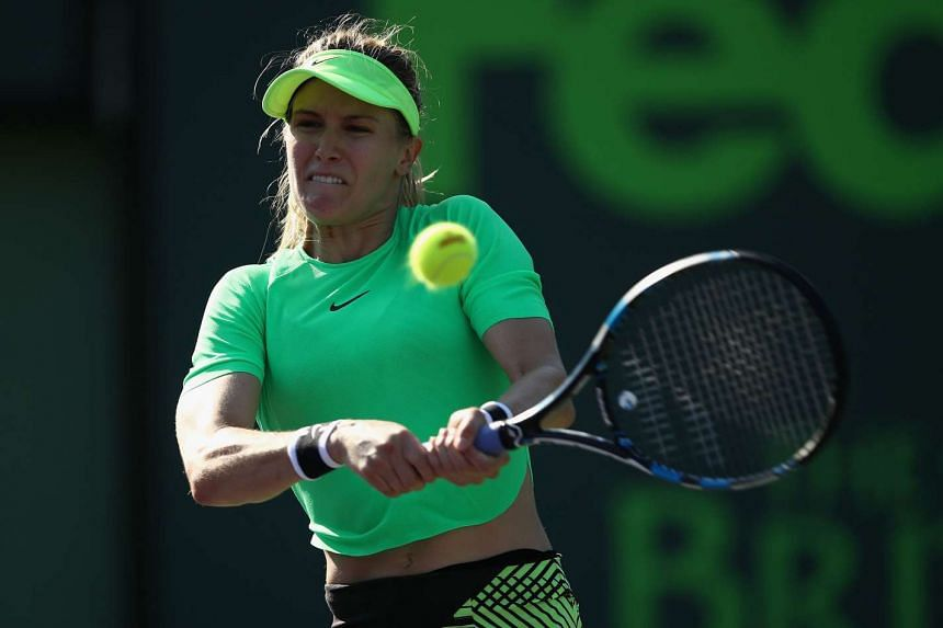 Eugenie Bouchard of Canada in action against Ashleigh Barty of Australia at Crandon Park Tennis Center on March 22, 2017.