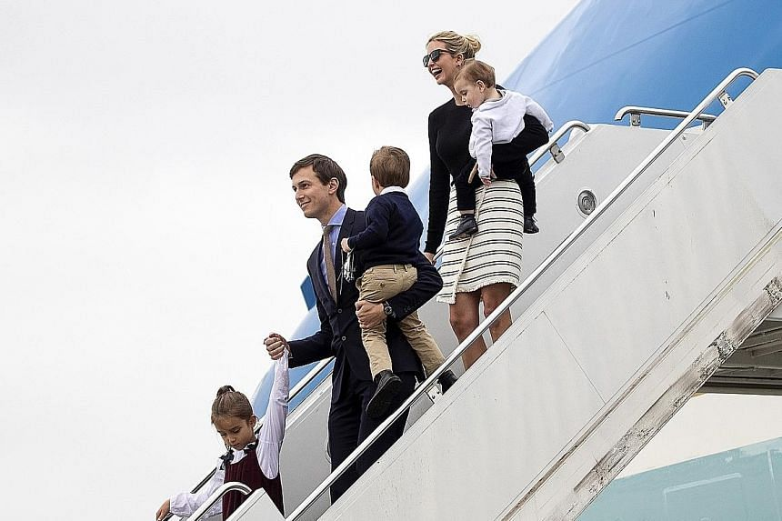 Ivanka Trump arriving with her husband Jared Kushner and their children in West Palm Beach. Her fine jewellery line was either shut down or transformed into Ivanka Trump Fashion Jewelry, which is sold at a lower price.