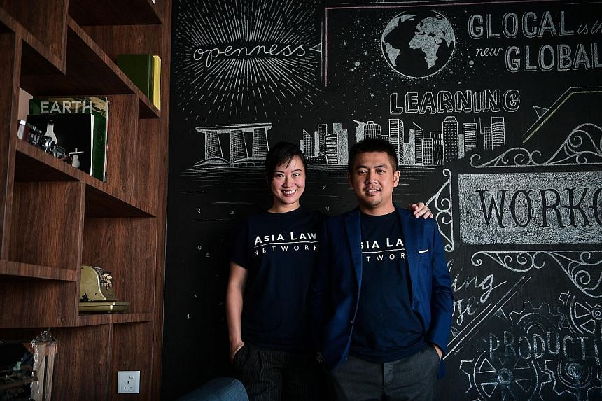 Asia Law Network's chief executive Cherilyn Tan and chief marketing officer Gabriel The. The legal start-up is among five technology solutions under the new Tech Start for Law scheme, and has introduced a pilot initiative where its existing Quick Con