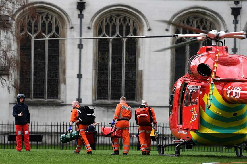 An air ambulance on Parliament Square following a major incident outside the Houses of Parliament in central London, Britain on March 22, 2017.