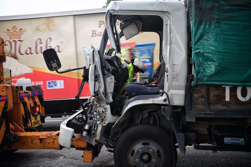 Damage to the front of a lorry which was involved in an accident with a trailer along the AYE near the Jurong Town Hall exit on March 23, 2017.