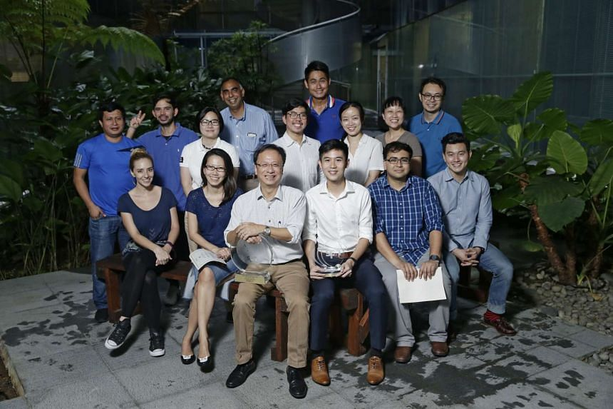 Some of the ST winners at SPH's annual awards ceremony on March 22, 2017. Front row (from left): Rebecca Pazos, Irene Tham, Christopher Tan, Chua Siang Yee, Zakir Hussain, Basil Edward Teo. Second row (from left): Yime Benites, Rodolfo Pazos, Lin Xin
