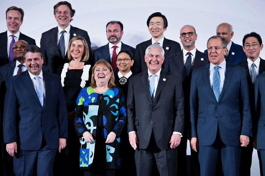 G-20 foreign ministers posing during a meeting at the World Conference Centre, on Feb 16, 2017 in Bonn, Germany.