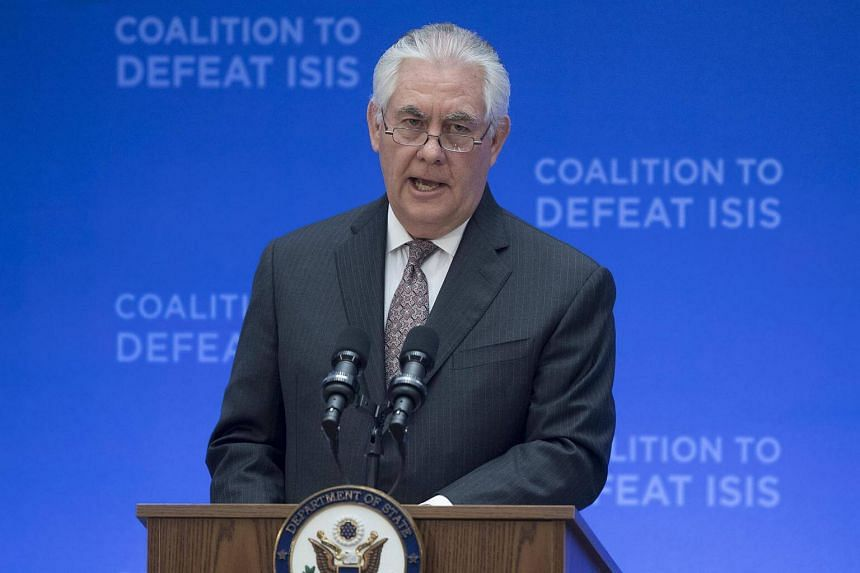 US Secretary of State Rex Tillerson delivers remarks at the Meeting of the Ministers of the Global Coalition on the Defeat of the Islamic State in Iraq and Syria, at the State Department in Washington, DC, USA, on March 22, 2017.