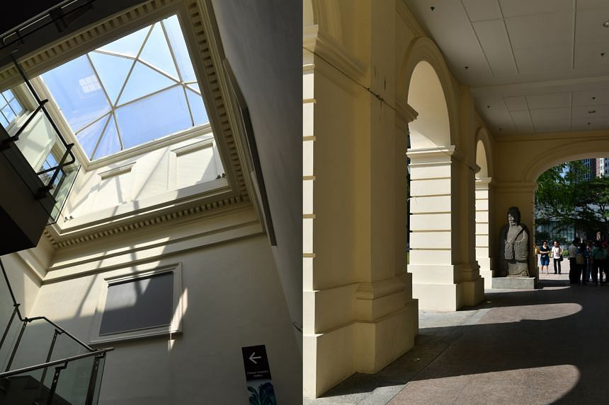 (Left) A skylight in the ceiling draws in sunlight, creating a play of shadows. The museum had more than 500,000 visitors <NO1>in 2016<NO>last year after the most recent extension in 2015. (Right) The building, with grand arches and open spaces, is o