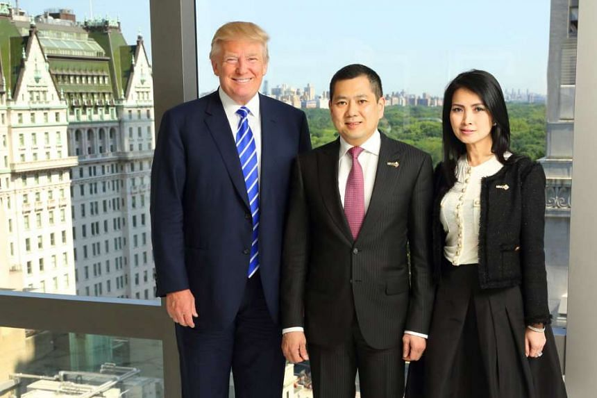 US President Donald Trump with Mr Hary Tanoesoedibjo and his wife Liliana at the signing ceremony for the planned Bali resort in New York City on Aug 14, 2015.