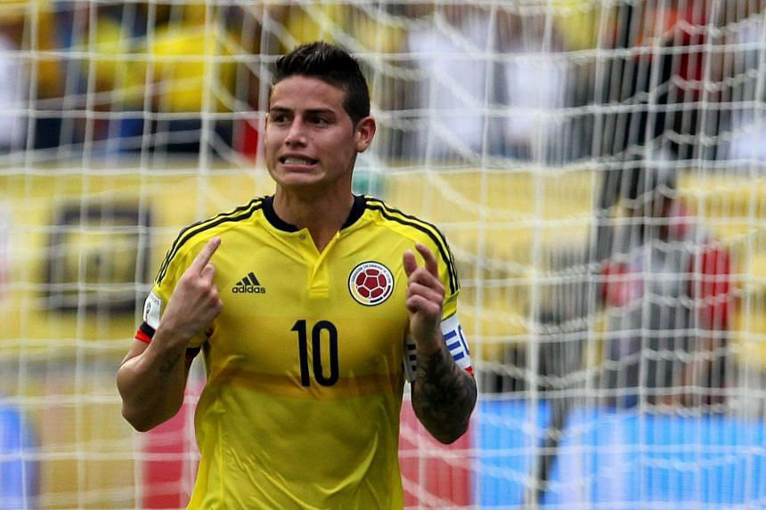 Colombian James Rodriguez celebrates after scoring a goal during a Russia 2018 World Cup qualifying match between Colombia and Bolivia on March 23, 2017.