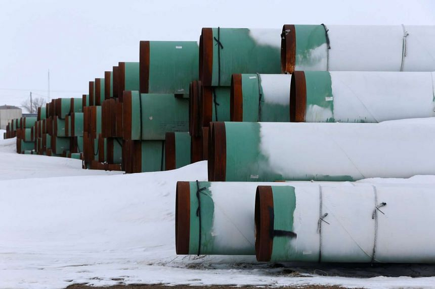A depot used to store pipes for Transcanada Corp's planned Keystone XL oil pipeline is seen in Gascoyne, North Dakota on Jan 25, 2017.