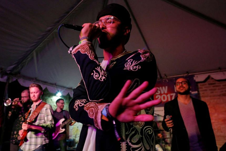Kayem, who is Libyan-American, performing at the South by Southwest Music Film Interactive Festival 2017 in Austin, Texas, US, on March 18, 2017.