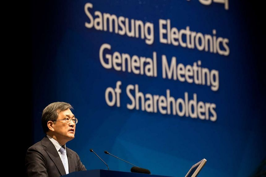 Samsung Vice-Chairman Kwon Oh Hyun speaks during the company's annual general meeting at the company's Seocho office building in Seoul, South Korea, on Friday, March 24, 2017.