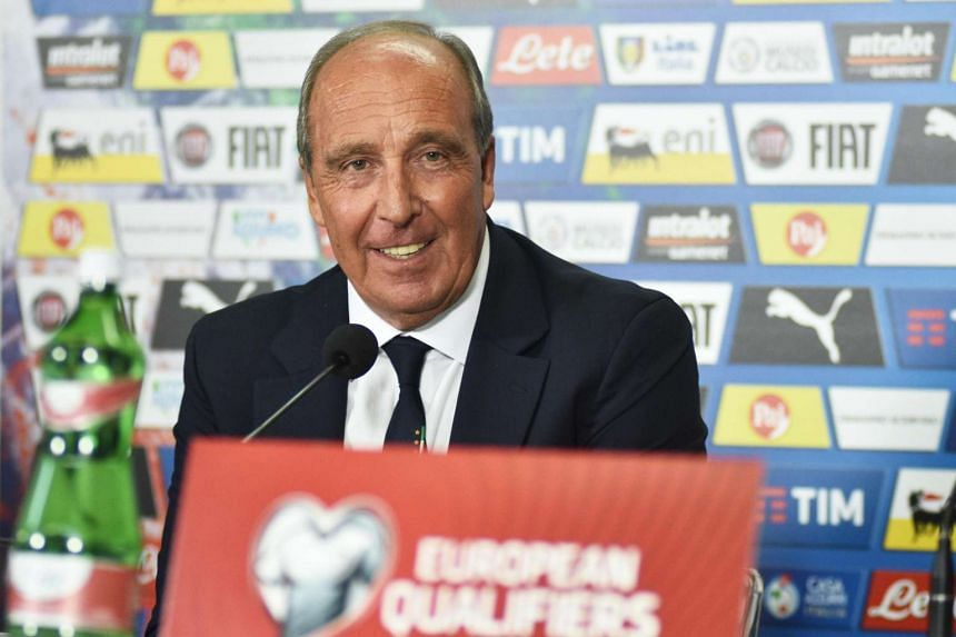 Italy's head coach Gian Piero Ventura during a press conference on the eve of the FIFA World Cup 2018 qualifying soccer match Italy vs Albania at Renzo Barbera stadium in Palermo, Sicily island, Italy on March 23, 2017.