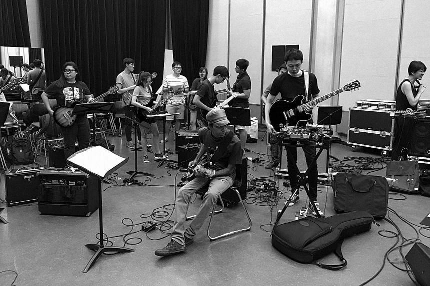 The Observatory members and National University of Singapore students and staff at a rehearsal for Vibrational.