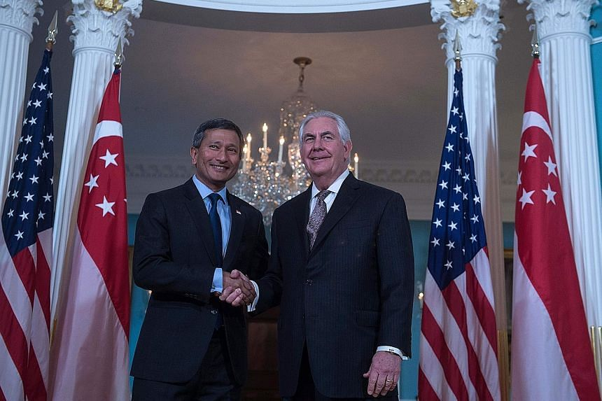 Dr Balakrishnan and Mr Tillerson at the State Department in Washington on Wednesday. Besides reaffirming the countries' relations, they also discussed regional developments.