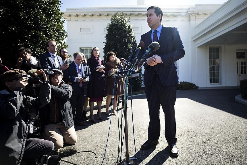 Mr Nunes speaking to the media outside the White House after meeting Mr Trump on Wednesday. He said it was possible that Mr Trump's communications, along with those of his transition team, were intercepted and disseminated among US intelligence agenc