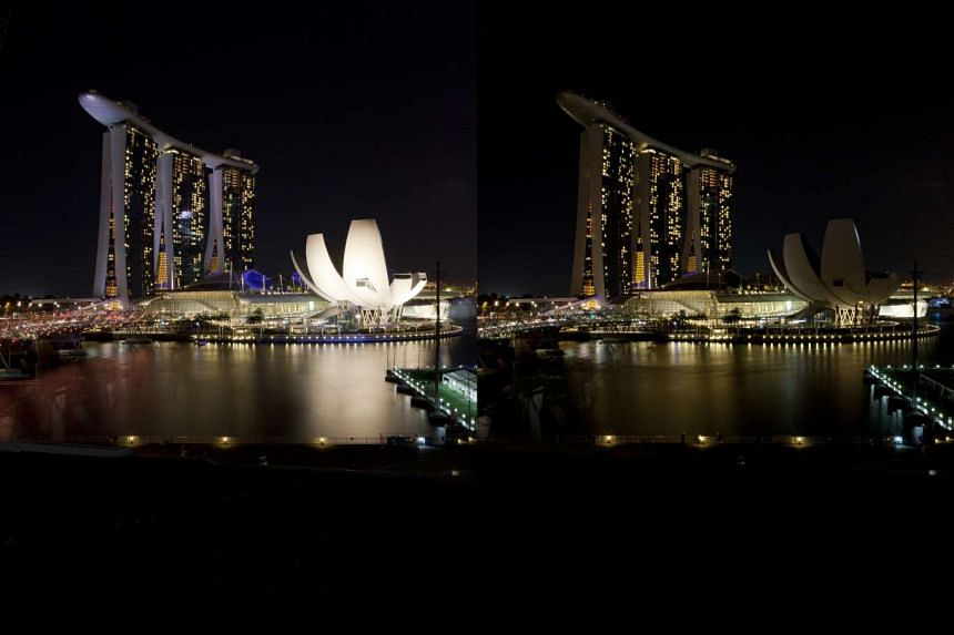 The Marina Bay area before (top left) and during Earth Hour in 2012. The annual event will see 200 businesses and organisations here switch off their lights for an