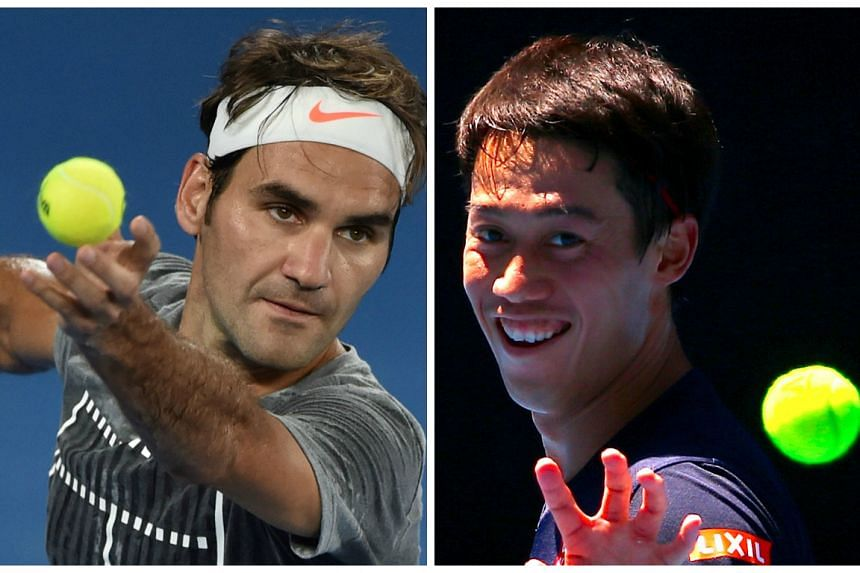 Roger Federer (left) and Kei Nishikori were the only members of the world top 10 missing from the entry list.