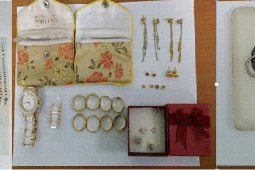 The items stolen by the 32-year-old man on March 24, 2017, included cash, jewellery, a watch and a handphone.