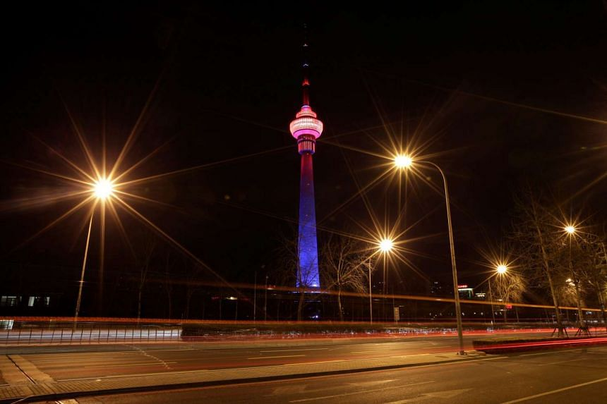 The China Central Radio and Television Tower is pictured before Earth Hour in Beijing, China on March 25, 2017.
