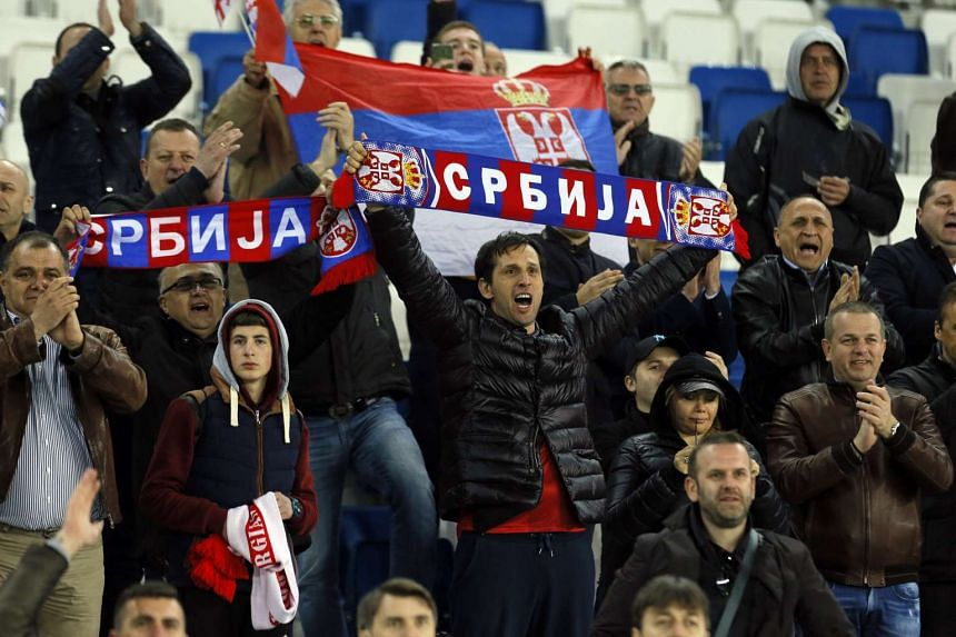 Serbia's fans cheer after the FIFA World Cup Qualifiers Europe Group D soccer match between Georgia and Serbia at the Boris Paichadze Dinamo Arena in Tbilisi, Georgia on March 24, 2017.