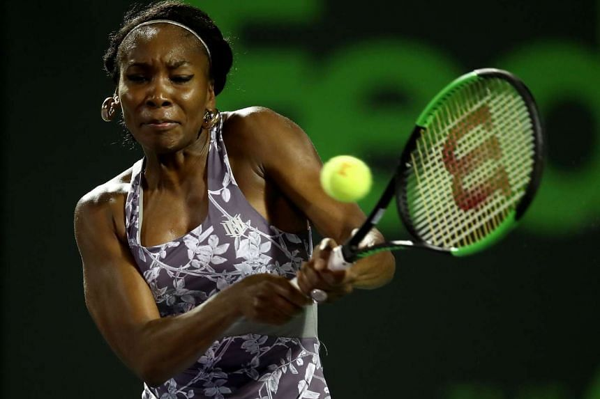 Venus Williams of USA in action against Beatriz Haddad Maia of Brazil at Crandon Park Tennis Center in Key Biscayne, Florida on March 24, 2017.
