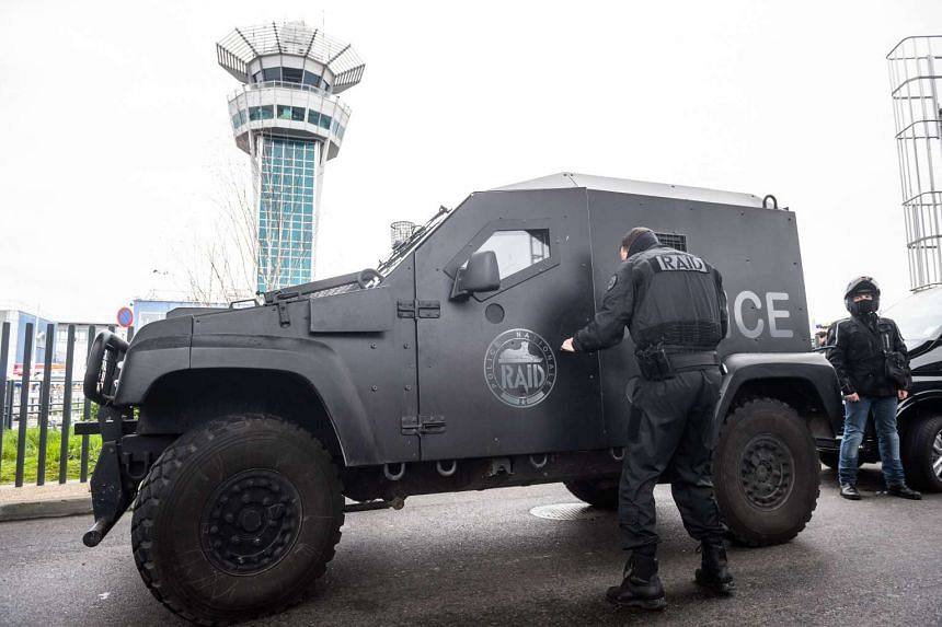 Members of French anti-terrorist force RAID at Orly airport, near Paris, France on March 18, 2017.