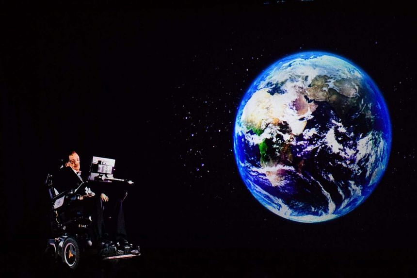 Renowned physicist Stephen Hawking, 75, speaking to an audience by hologram (left) in Hong Kong, beamed live from his office in Cambridge, England, on March 24, 2017.