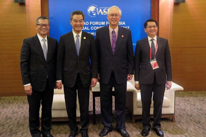 Emeritus Senior Minister (ESM) Goh Chok Tong's meeting with Hong Kong chief executive Leung Chun Ying (second from left) on March 25, 2017.