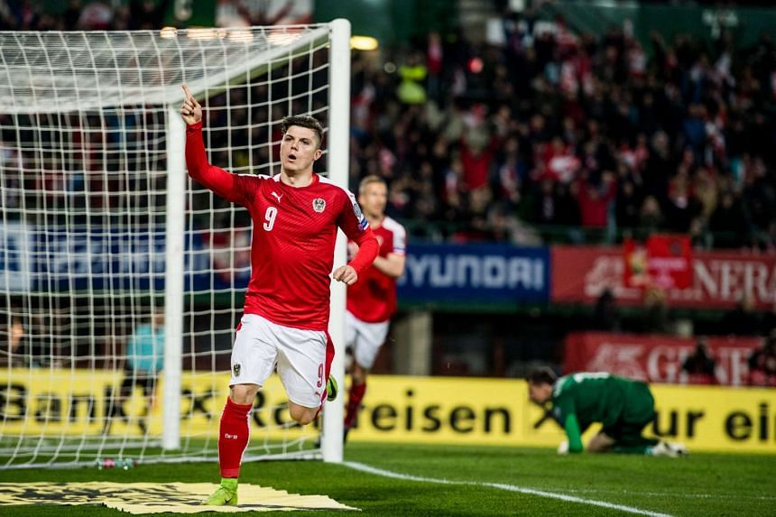Marcel Sabitzer of Austria celebrates after scoring the 1-0 lead during the FIFA World Cup 2018 Group D qualifying soccer match between Austria and Moldova at the Ernst Happel Stadium in Vienna, Austria on March 24, 2017.