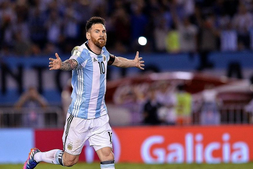 Lionel Messi celebrating his 16th-minute penalty against Chile. Argentina next play Bolivia in the World Cup qualifiers.