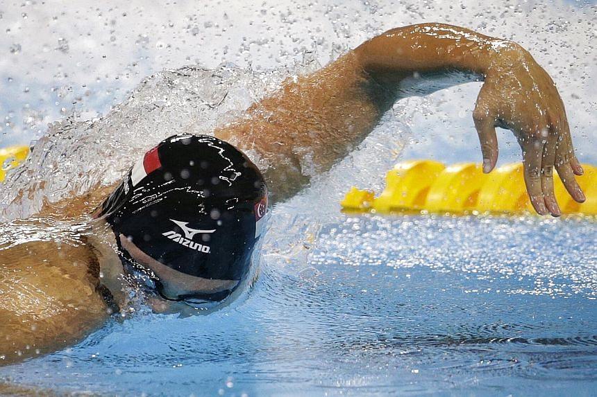 """Joseph Schooling, seen here in action during last year's Olympics in Rio de Janeiro, was """"a little disappointed"""" with his NCAA 50-yard freestyle timing, which was 0.02sec slower than in the heats. But he was glad to have played his part in the Univer"""
