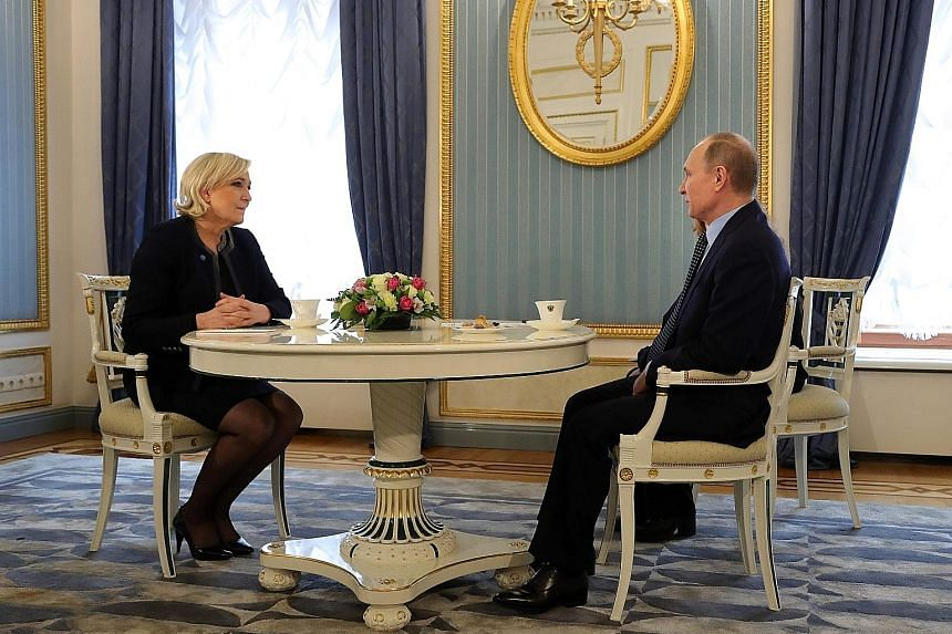 Ms Marine Le Pen is the most outspoken admirer of Mr Vladimir Putin among the top five French presidential candidates.