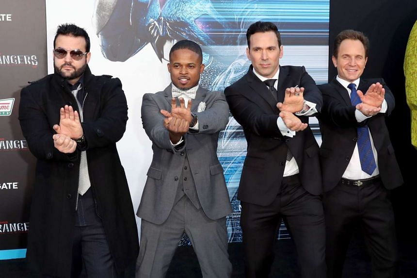 (Left to right) Actors Austin St. John, Walter Jones, Jason David Frank, and David Yost at the premiere of Power Rangers on March 22, 2017.
