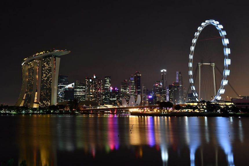 The Marina Bay skyline at 8.35pm, as Singapore marks Earth Hour.