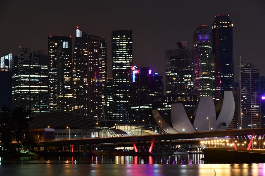 The Marina Bay skyline at 9.27pm, as Singapore marks Earth Hour.