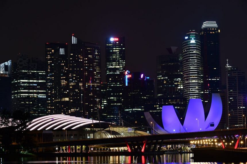 The Marina Bay skyline at 9.31pm, as Singapore marks Earth Hour.