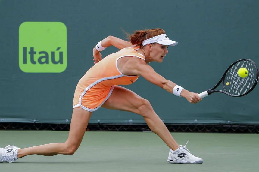 Agnieszka Radwanska of Poland in action against Mirjana Lucic-Baroni of Croatia during day five of the Miami Open tennis tournament on Key Biscayne, Miami, Florida, on March 25, 2017.