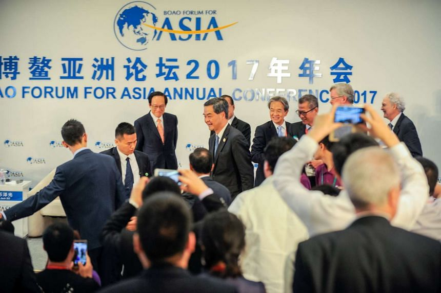 Hong Kong Chief Executive Leung Chun-ying attends the Boao Forum in Hainan province, China, on March 24, 2017.
