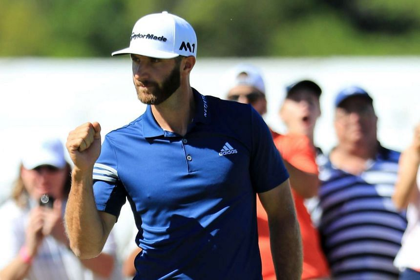 Dustin Johnson reacts after putting for birdie on the 15th hole of his match during round five of the World Golf Championships-Dell Technologies Match Play on March 25, 2017.