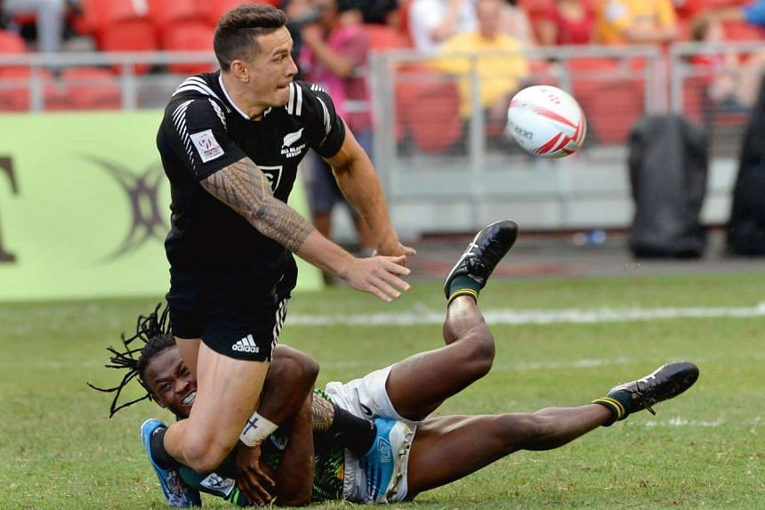 New Zealand's Sonny Bill Williams in action against South Africa at the Singapore Rugby Sevens tournament at the Singapore Sports Hub on April 17, 2016. South Africa beat New Zealand 12-7.