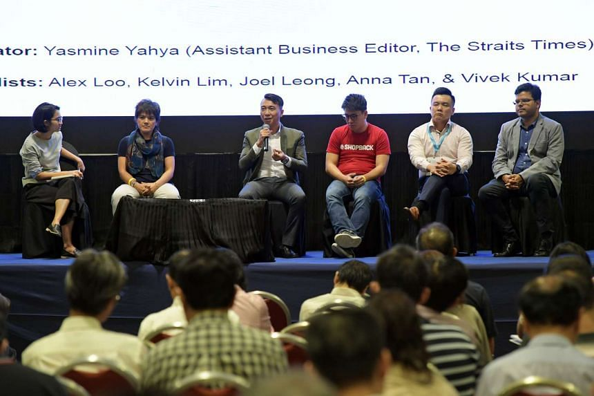 Panellists at the STJobs Career & Development 2017 job fair were (from left) ST assistant business editor Yasmine Yahya, chief executive and founder of coach-matching company Coaching Go Where Anna Tan, Mr Kelvin Lim, co-founder of Shopback Joel Leon