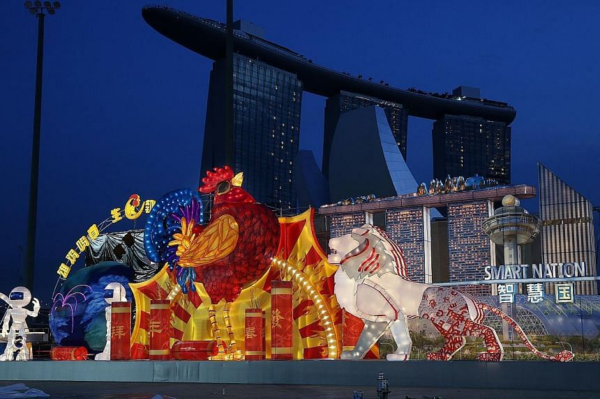 Elsewhere, Singapore's Smart Nation aspirations, seen in a set piece at River Hongbao 2017, involves greater use of technology in daily life.