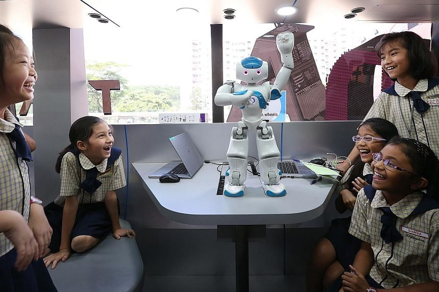 The young are already getting exposure to technology from an early age, for instance, through a dancing robot in a Lab on Wheels visit, where pupils learn about robotics in a fun way on a retrofitted bus filled with computers and robotics.