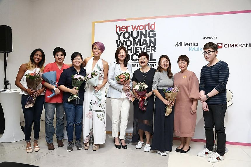 (From left) Her World Young Woman Achiever forum panellists - sprinter Shanti Pereira; Bettr Barista Coffee Academy founder Pamela Chng; Kapap Academy Singapore chief executive Qin Yunquan; FoodXervices managing director and The Food Bank Singapore c