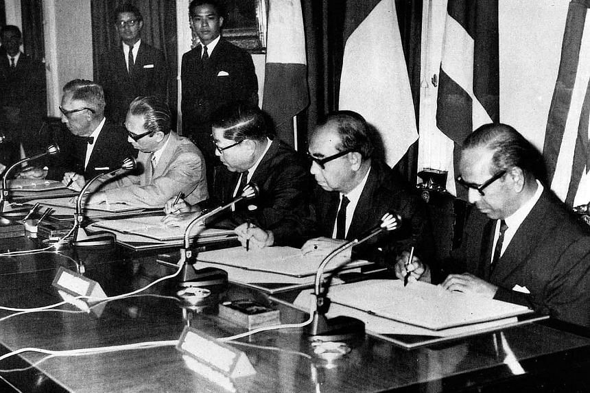 Singapore's foreign minister S. Rajaratnam (right) at the historic meeting in Bangkok to sign the founding Asean declaration on Aug 8, 1967, together with (from left) foreign ministers Narciso Ramos of the Philippines, Adam Malik of Indonesia, Thanat