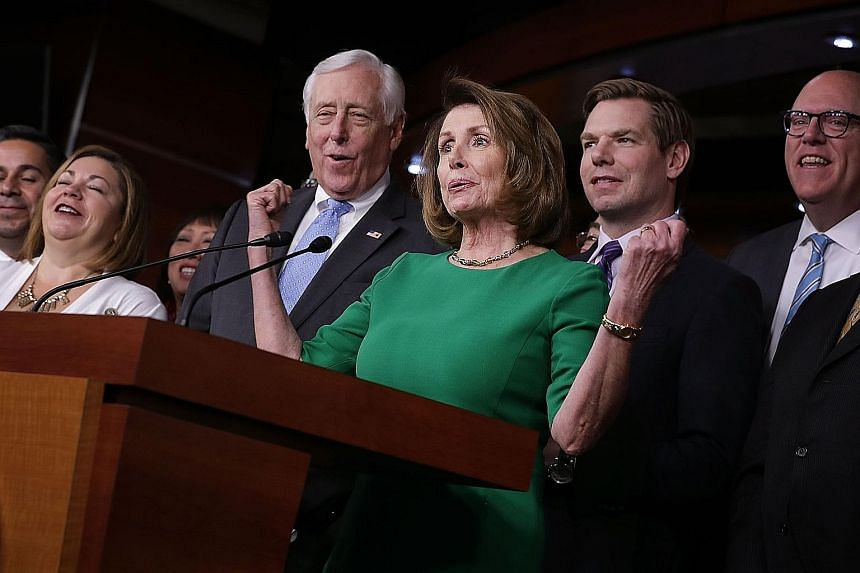 House Minority Leader Nancy Pelosi and some of her fellow House Democrats rejoicing at a news conference after Republicans pulled their healthcare Bill. Mr Trump did not try to reach out to Democrats. Mr Trump had underestimated the importance of rep