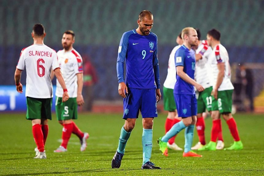The Netherlands suffered a major setback in its World Cup Finals hopes, slumping to a shock 2-0 defeat by Bulgaria.