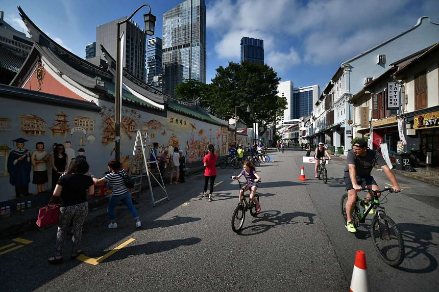 Cyclists at the March edition of Car-Free Sunday SG.