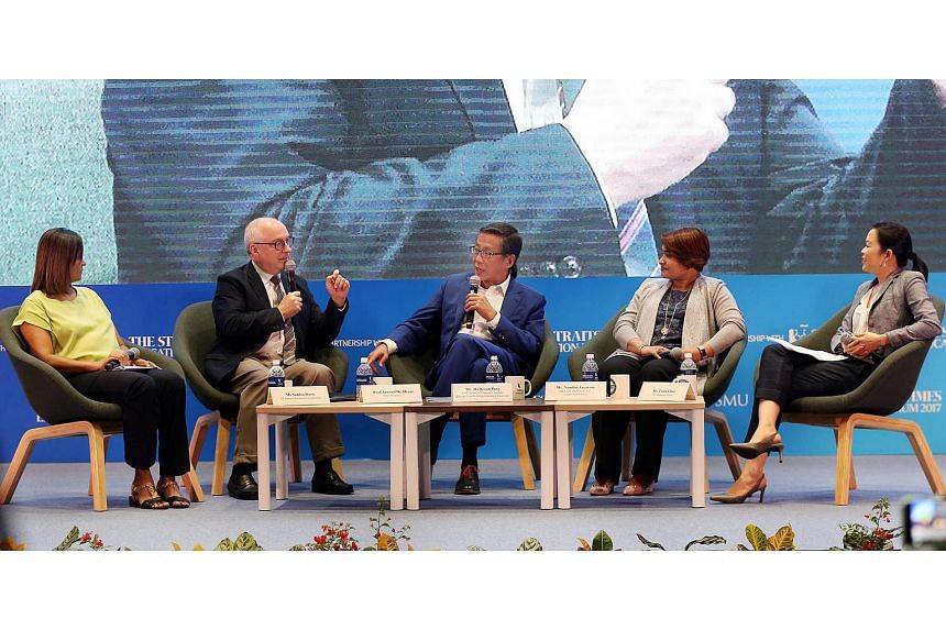 Panellists at the ST Education Forum 2017 were (from left)  ST senior education correspondent Sandra Davie, SMU president Arnoud De Meyer, SMU's board of trustees chairman Ho Kwon Ping, Ms Nandini Jayaram, the South-east Asia human resource lead for
