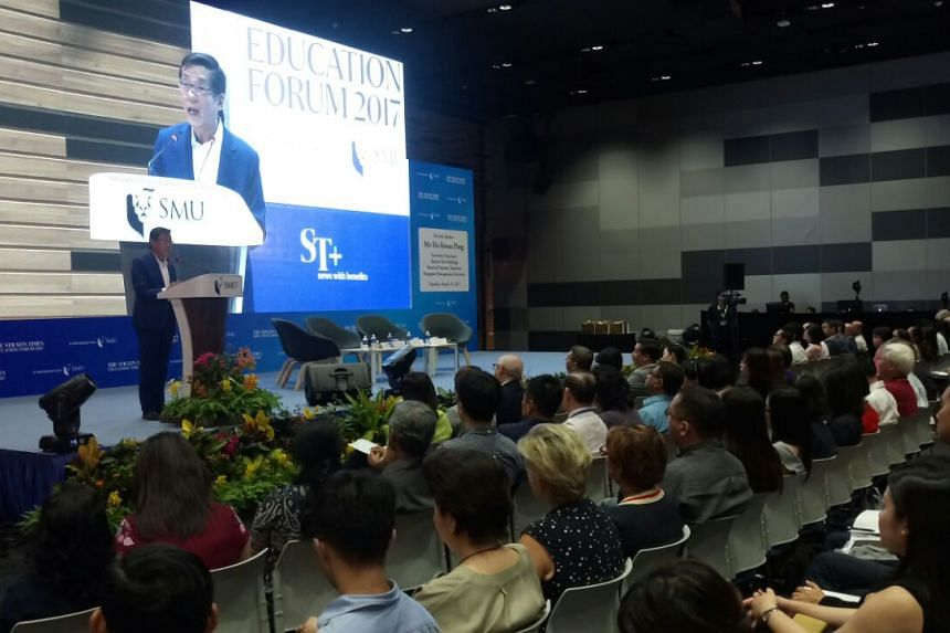 SMU's board of trustees chairman Ho Kwon Ping speaking at The Straits Times Education Forum 2017.